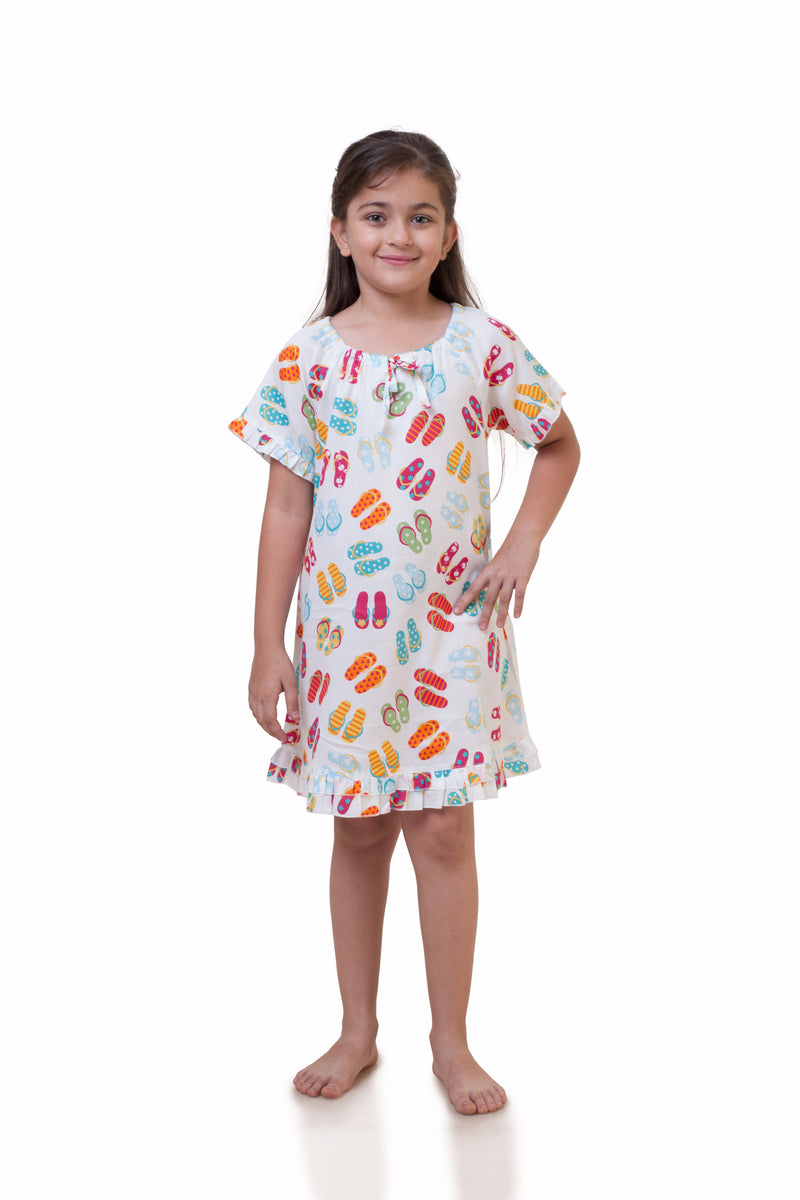Popsicle & Nigh Nigh Girls White Flip-flop Printed Nighty