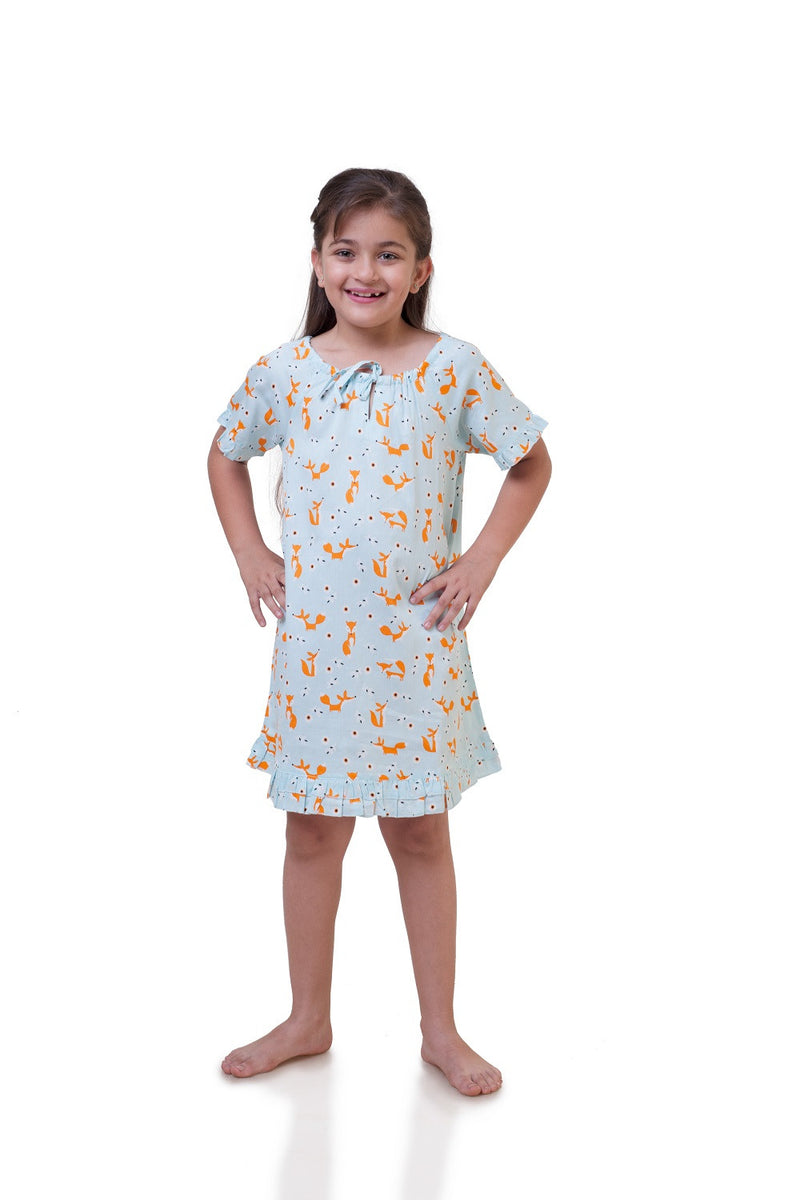 Popsicle & Nigh Nigh Girls White and Orange Fox Printed Nighty