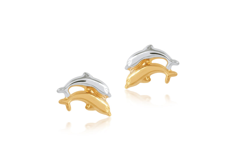 18K Gold JUMPING DOLPHINS EARRINGS by Gempetit