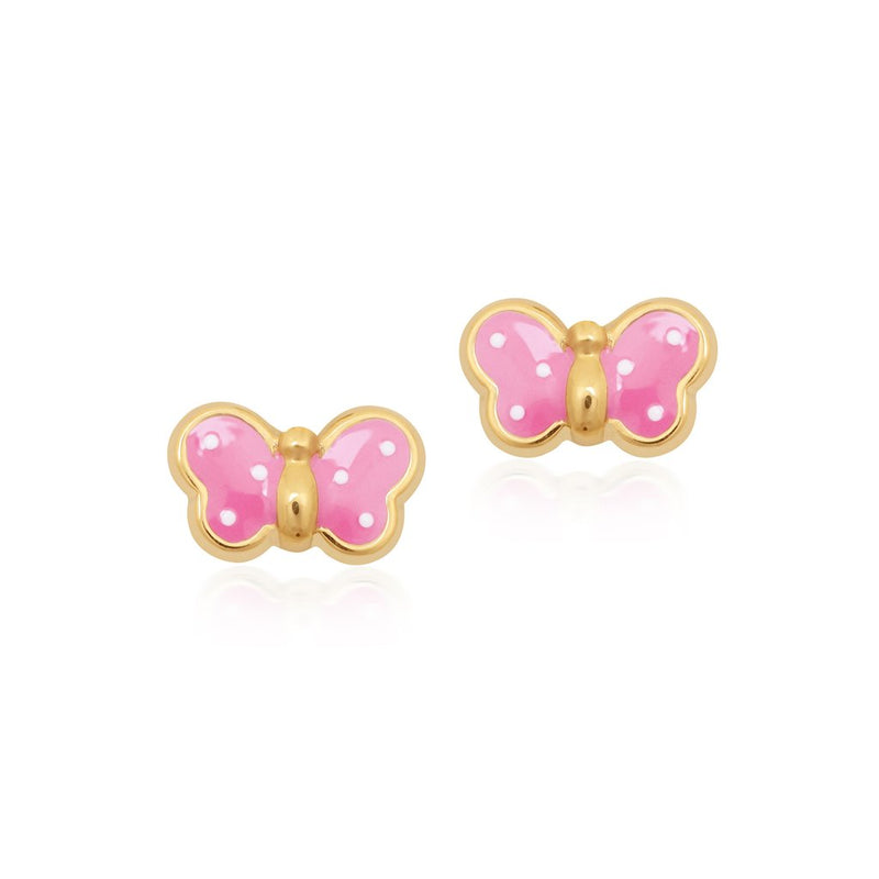 18K Gold FUSCHIA BUTTERFLY EARRINGS by Gempetit