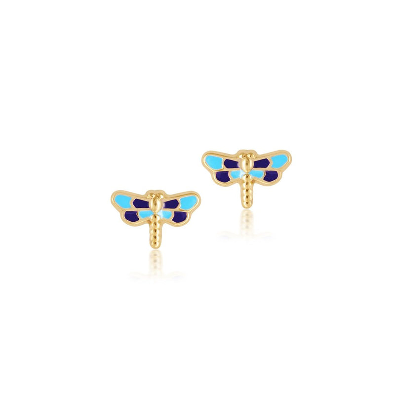 18K Gold SHADES OF BLUE FIRE FLY EARRINGS by Gempetit