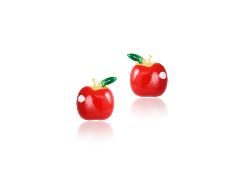 18K Gold RED APPLES EARRINGS by Gempetit