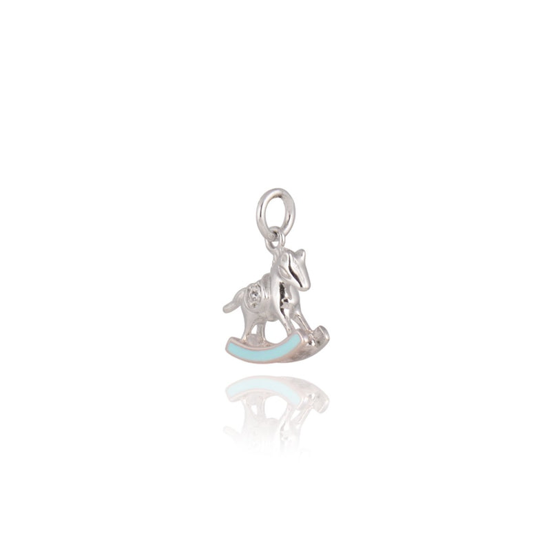 Gempetit WHITE GOLD Plated ROCKING HORSE PENDANT