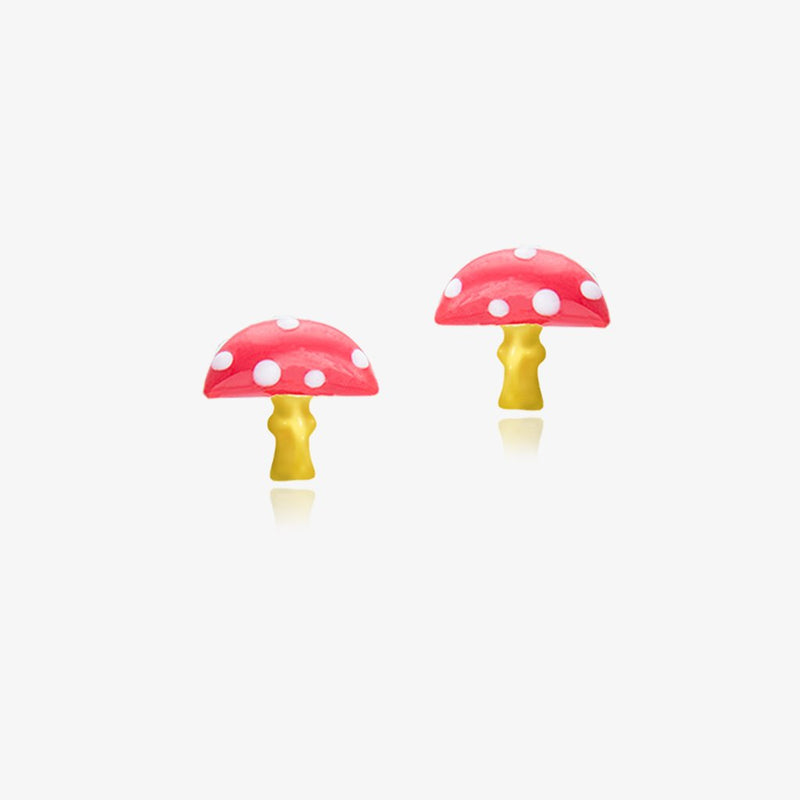 18K Gold THE GIANT MUSHROOM (RED) EARRINGS by Gempetit