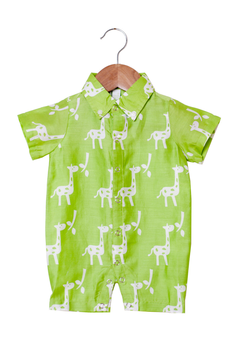 Popsicle & Nigh Nigh Boys Green Giraffe Printed Rompers