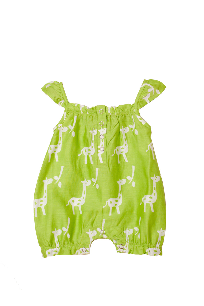 Popsicle & Nigh Nigh Girls Green Giraffe Printed Rompers