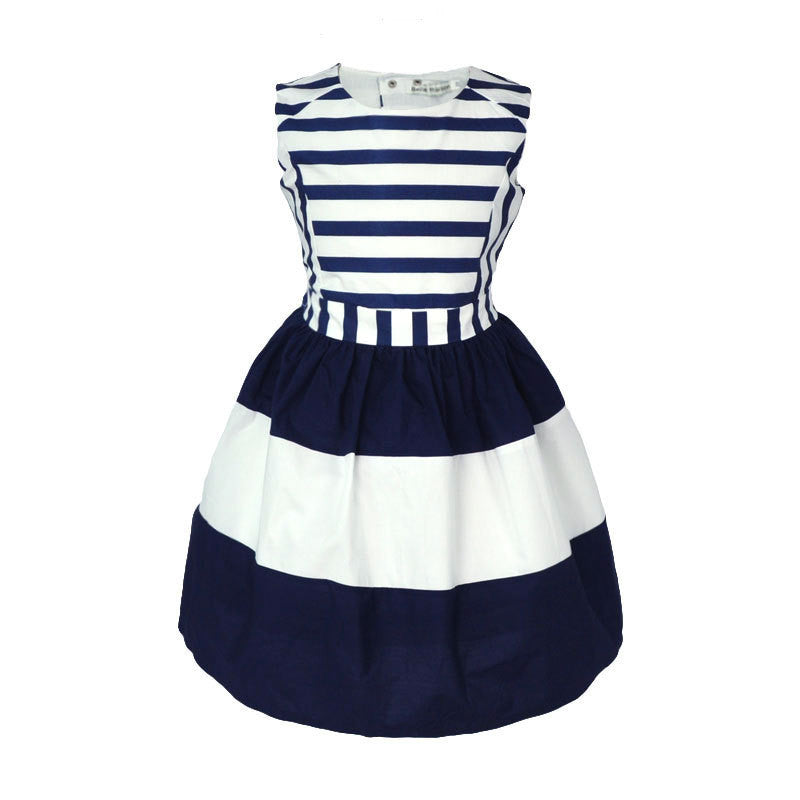 Aww Hunnie Navy Blue and White Summer Princess European Styled Dress