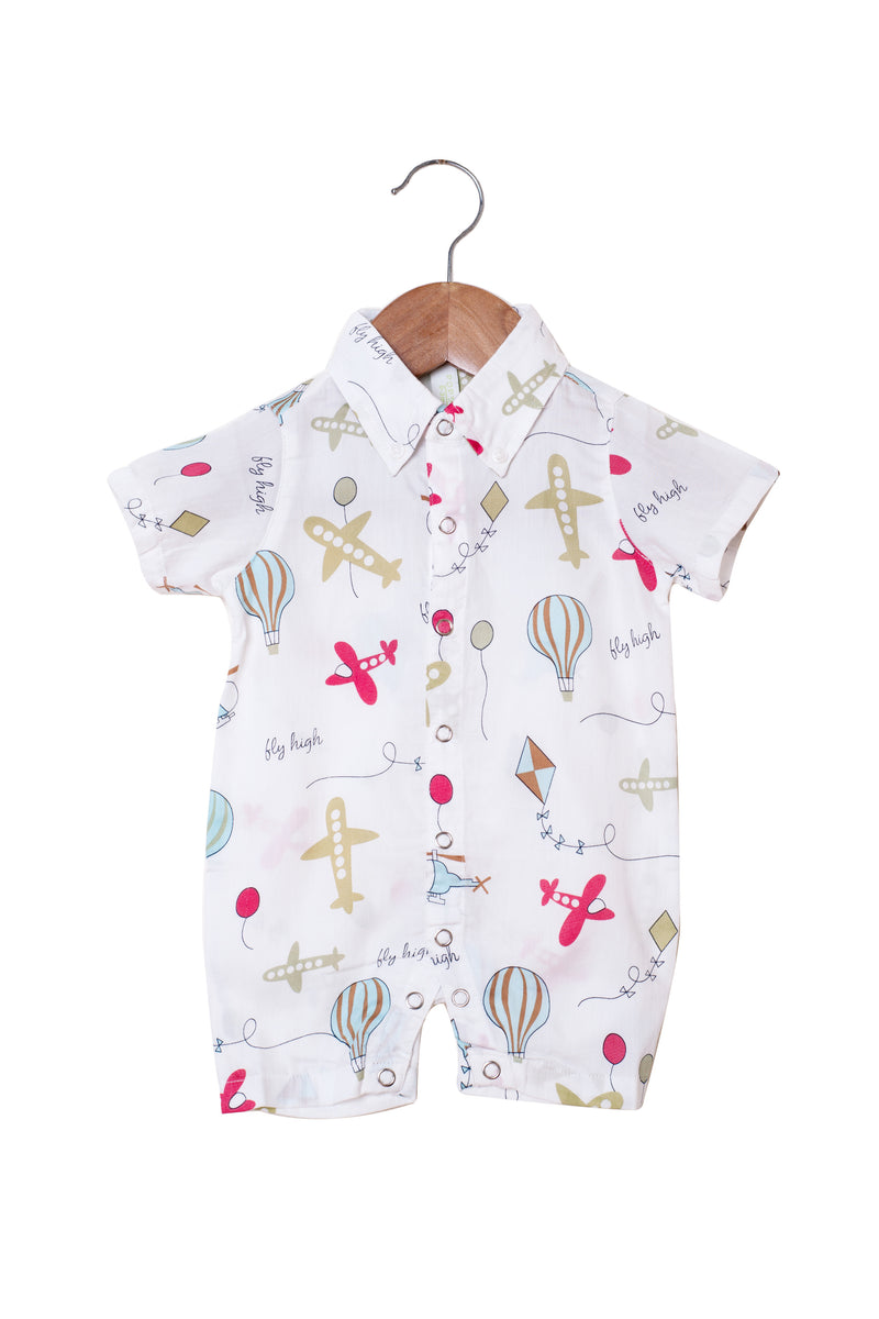Popsicle & Nigh Nigh Boys White Highfliers Rompers