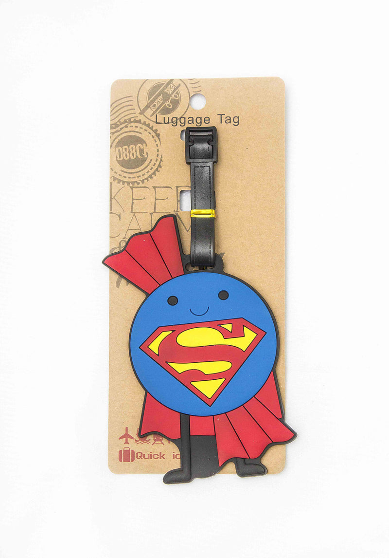 Zap Diaries Blue and Red Superman Smiley Luggage Tag