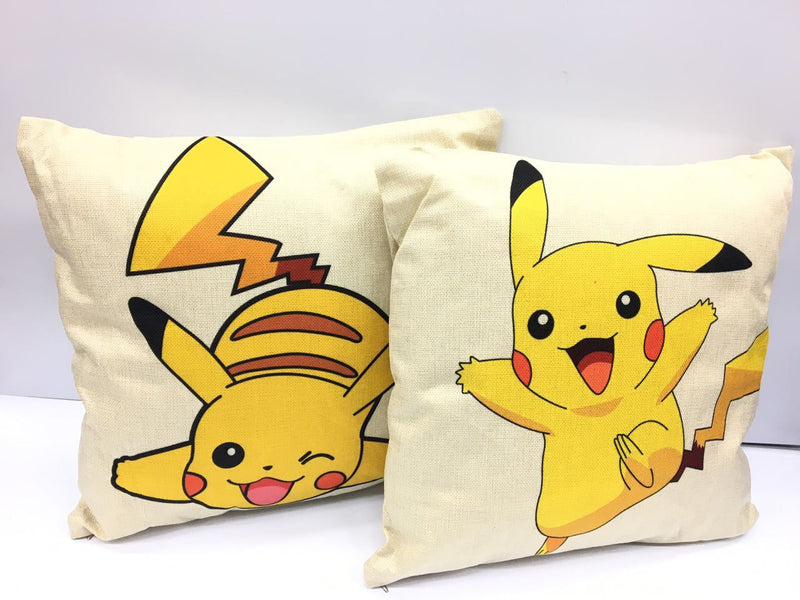 Zap Diaries Cream and Yellow Pikachu Printed Cushion Set