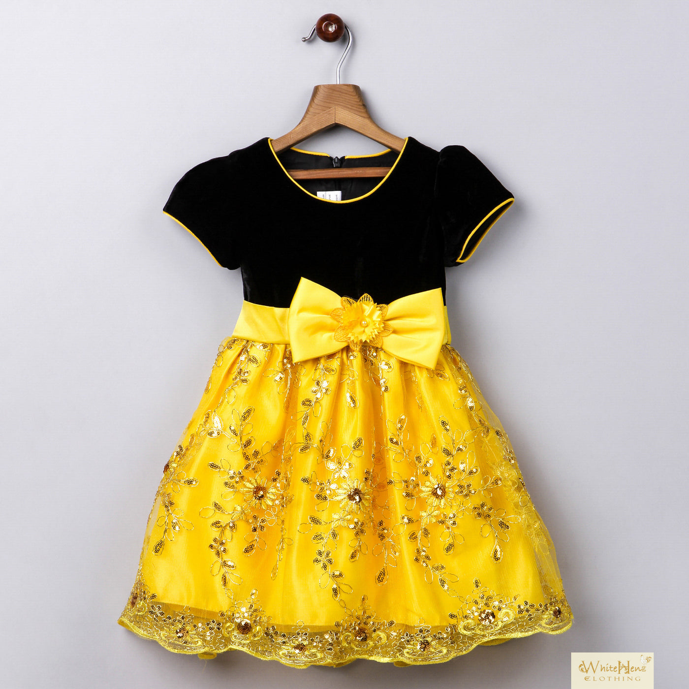 6a70d49a4223 Whitehenz Clothing Girls Black and Yellow Dark Night Sequin Love Party –  Munchkinz