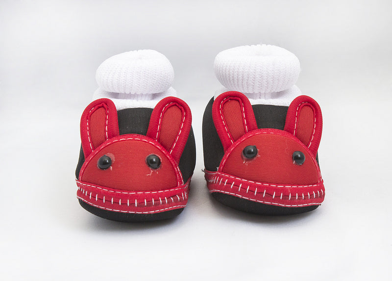 Zap Diaries Red and Black Rabbit Face Baby Booties