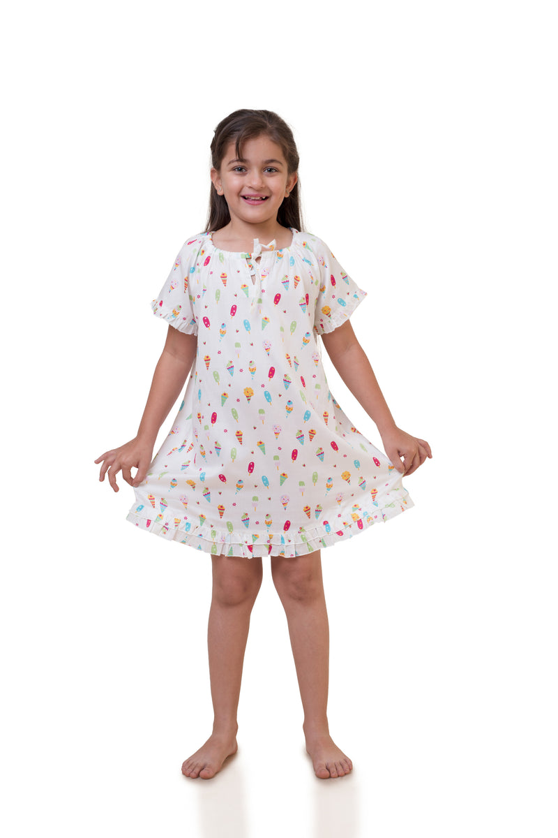Popsicle & Nigh Nigh Girls White Ice Cream Printed Nighty
