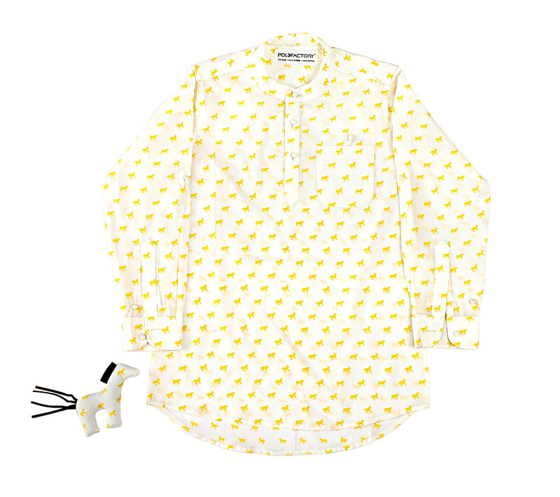 Polofactory's Yellow Kids Kurta Shirt with Toy Horse