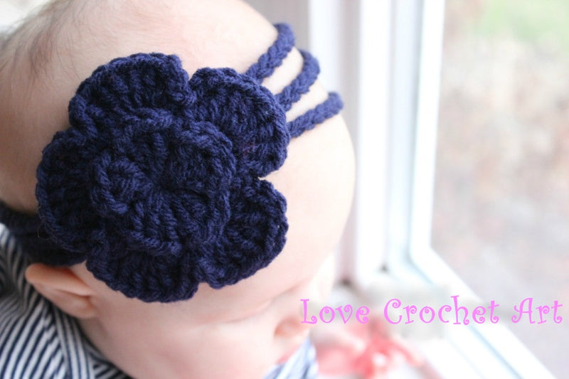 Love Crochet Art Dark Blue Knitted Flower Headband