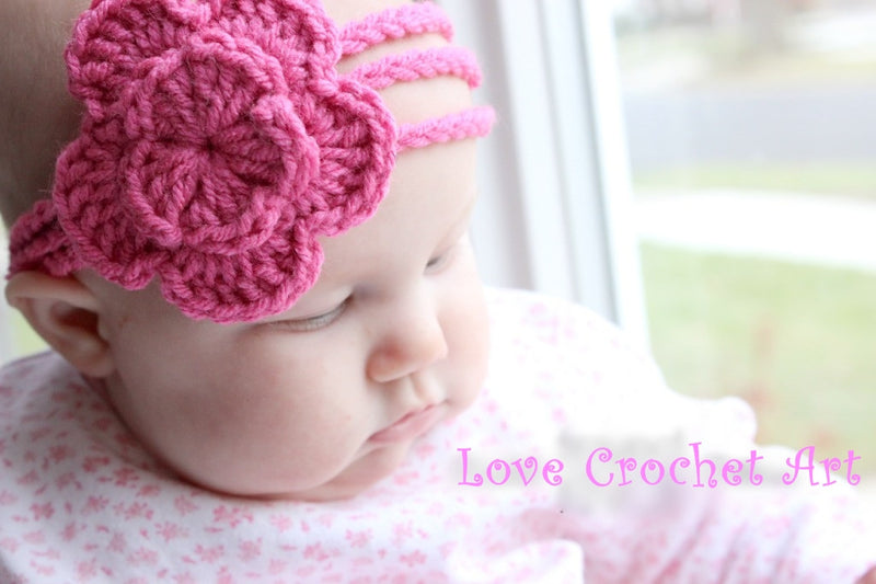 Love Crochet Art Pink Knitted Flower Headband