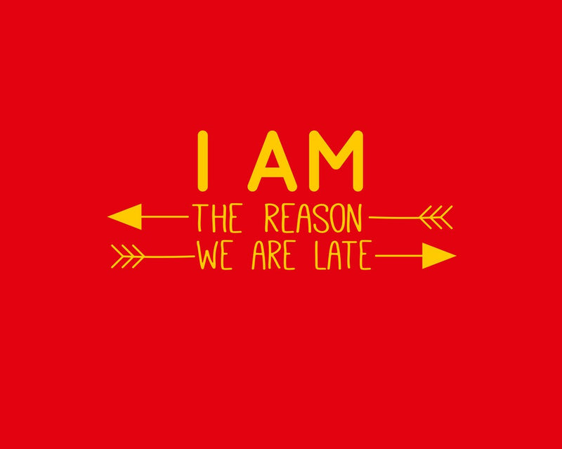 Blue Bus Store Red I Am The Reason We Are Late Printed Romper