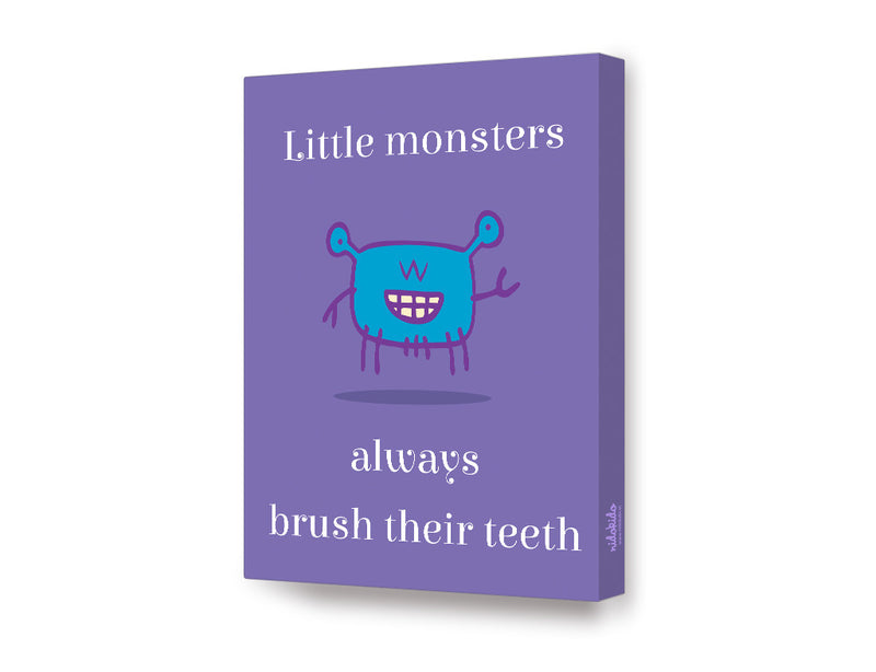 NidoKido Little Monster Series Brush Your Teeth Canvas Art