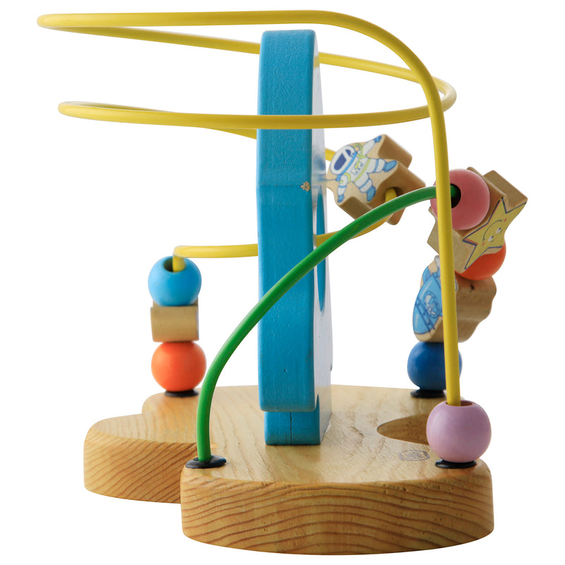 Munchkinz Wooden Beads Rocket Maze with Astronauts and Planets Moving Around Learning Toy