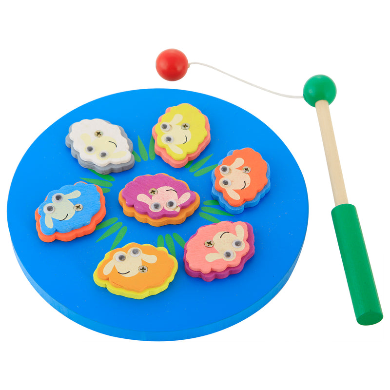 Munchkinz Wooden Magnetic Fish and Animal Catching Learning Game with Wooden Pole