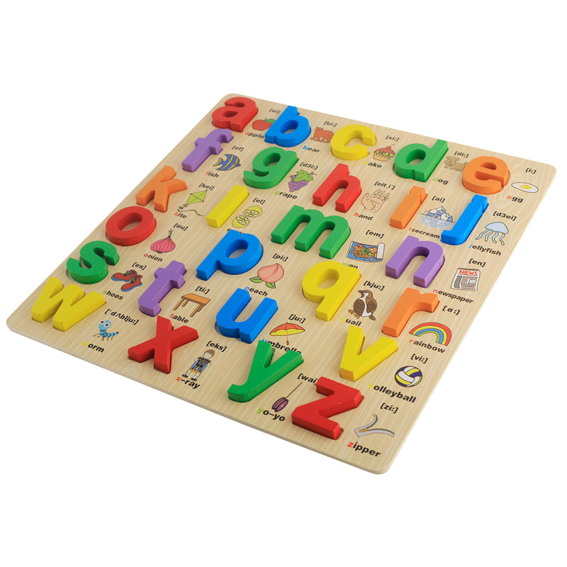 Munchkinz Wooden Shapes Alphabet Learning with Pictures Learning Puzzle Board