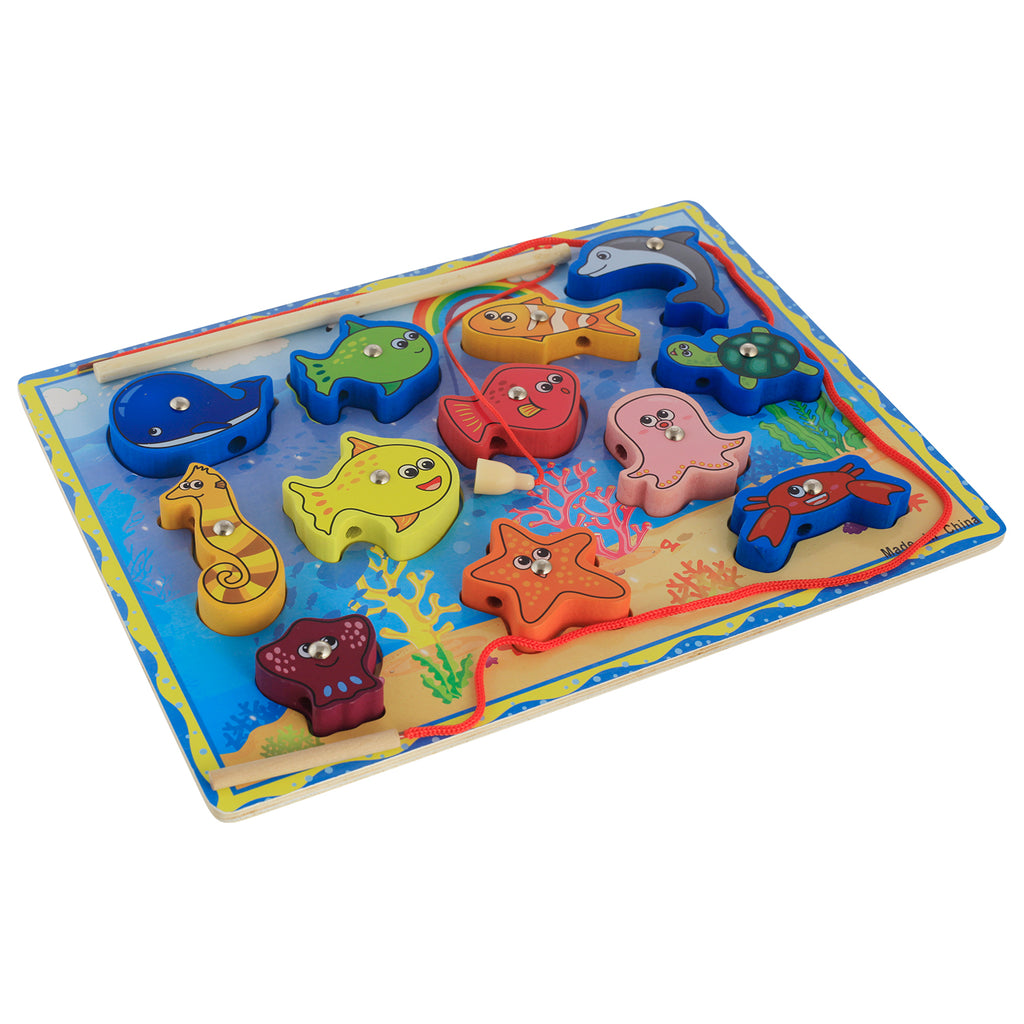 Munchkinz Wooden Magnetic Fish Catching Learning Game with 2 Wooden Poles