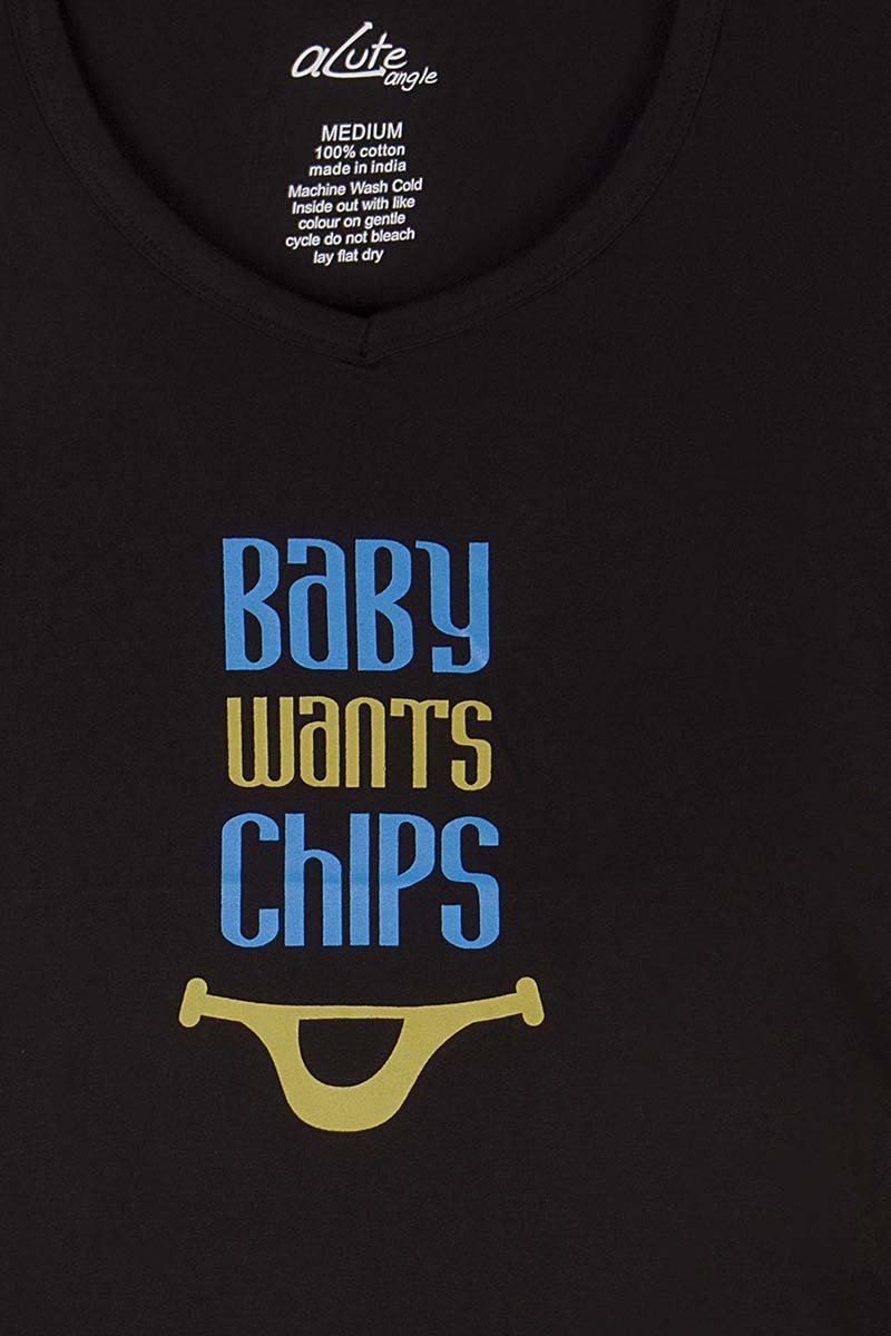 Acute Angle Baby Wants Chips Maternity Tee