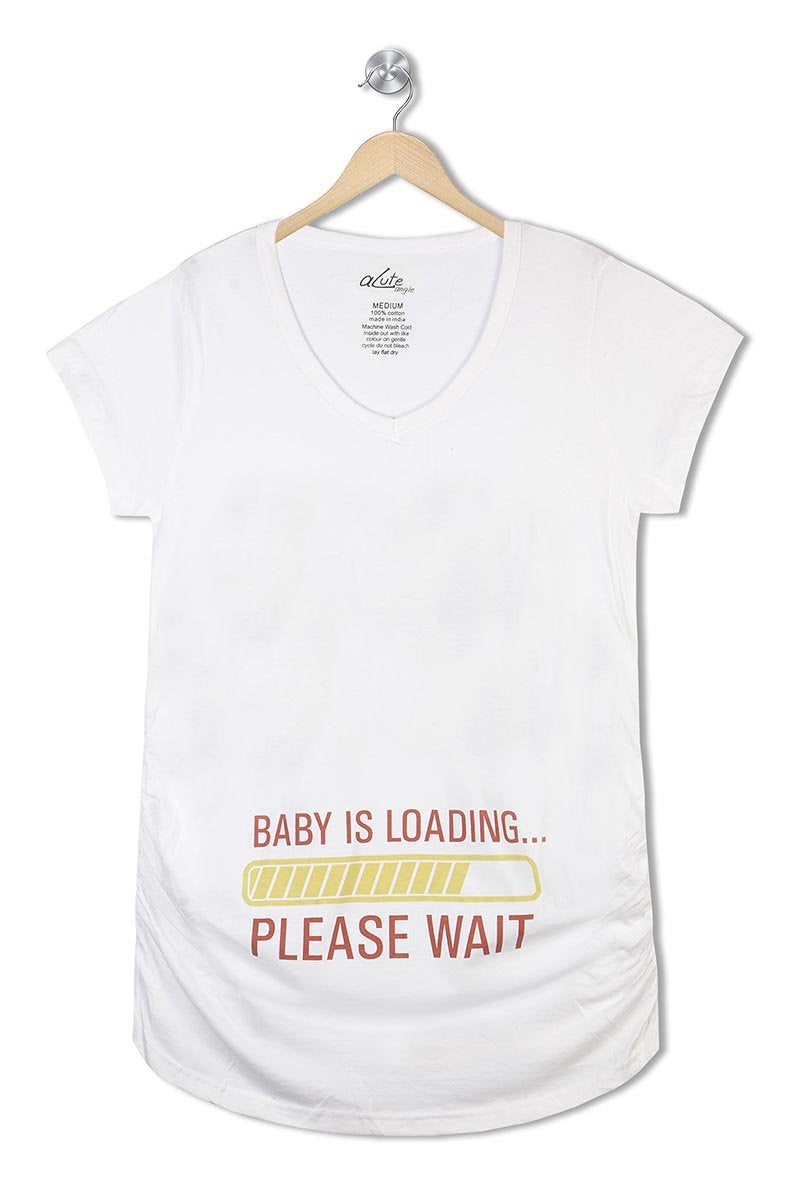 Acute Angle Baby is Loading please wait Maternity Tee
