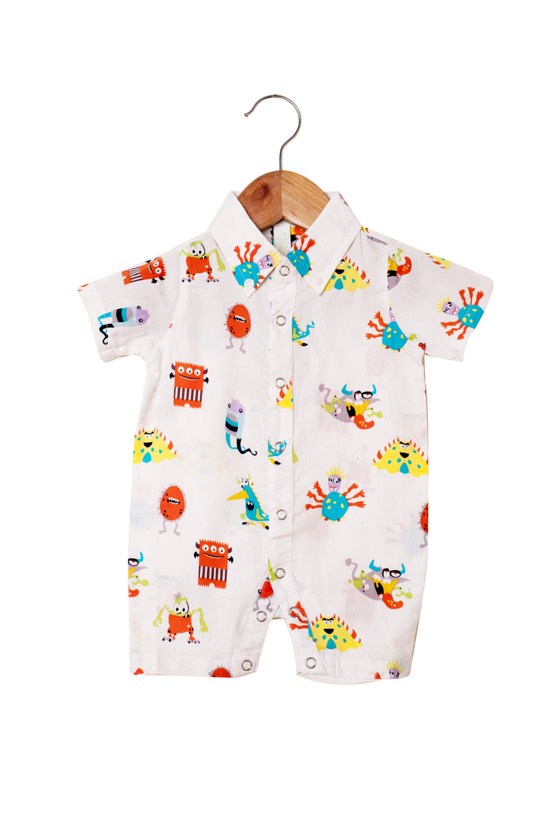 Popsicle & Nigh Nigh Boys Off White Monsters Printed Rompers