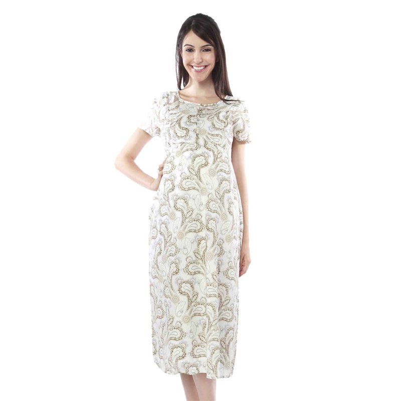 Nine Maternity White Printed Dress