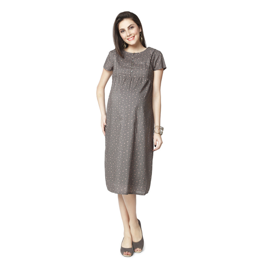 66b249cb097 Nine Maternity Grey All Over Printed Dress – Munchkinz