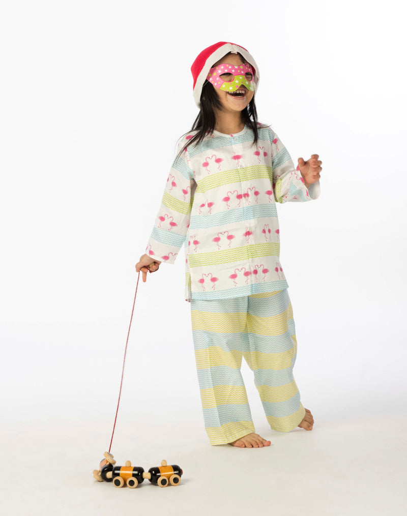 Popsicle & Nigh Nigh Girls Multicolor Flamingo Printed Night Wear