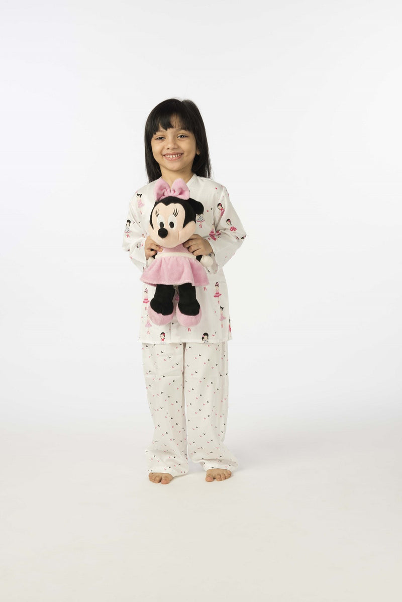 Popsicle & Nigh Nigh Girls Off White and Pink Printed Night Wear