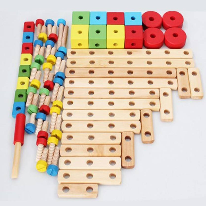 Munchkinz Multi-Functional Nut Combination Wooden Construction Screw and Joints Set Toy for Kids