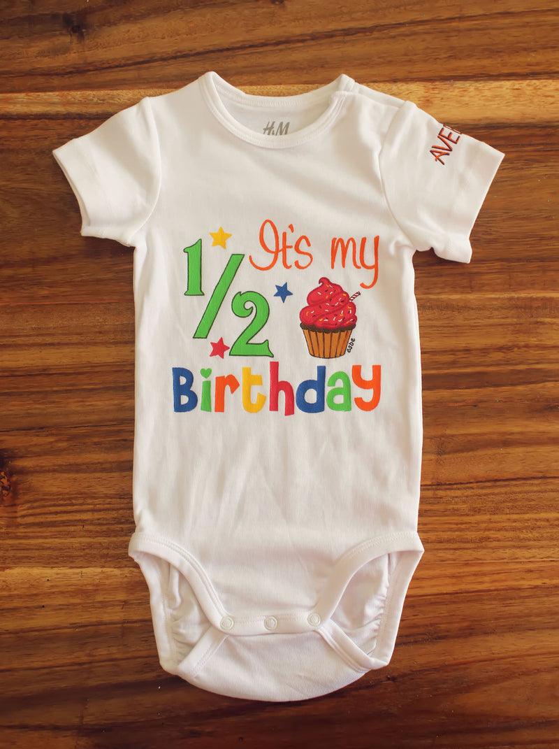 Esbe It's My Half Birthday Hand Painted White Onesie