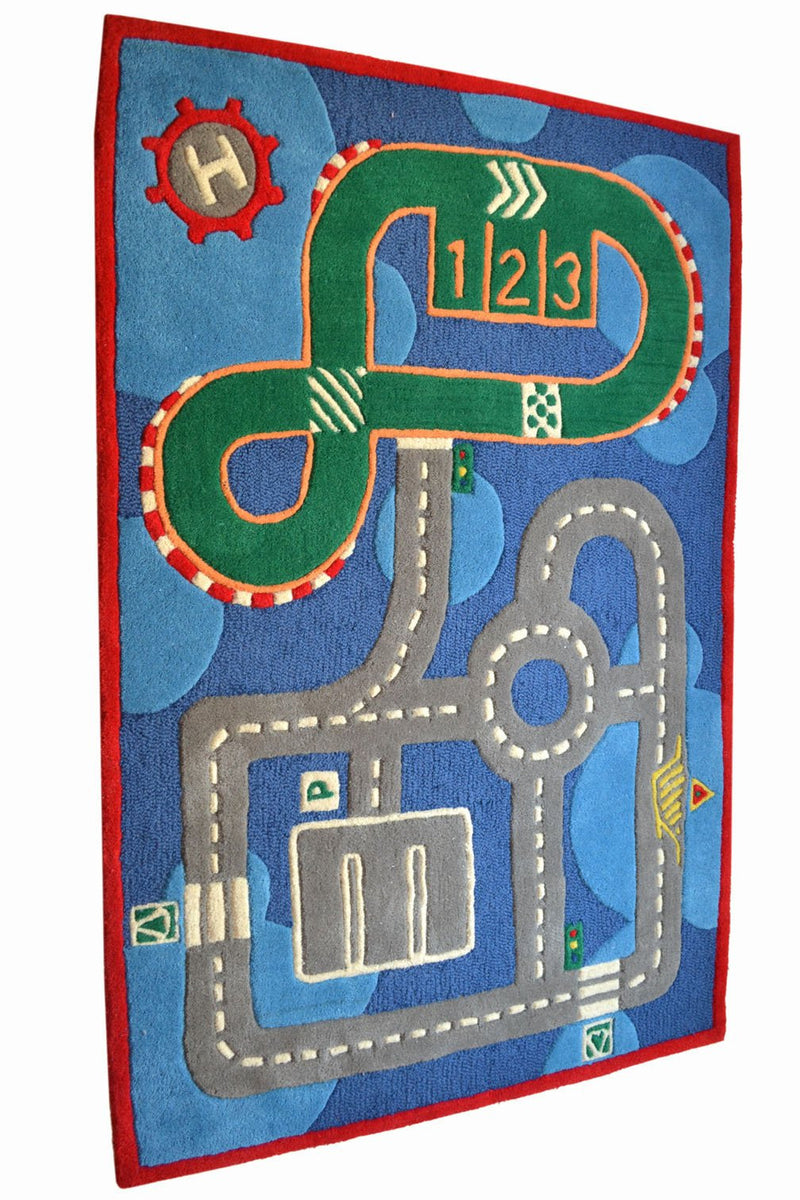 Littlelooms Blue Race Track Kids Rug