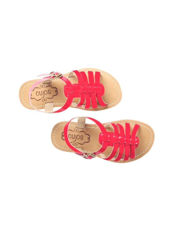 Cujos Tudela Red Open Toe Buckle Up Sandals