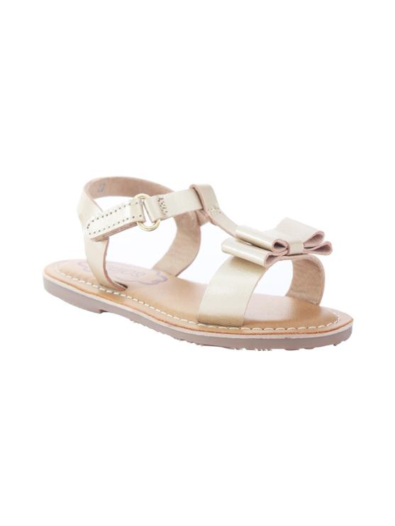 Cujos Barcelon T-Strap With Double Bow Sandals - Gold
