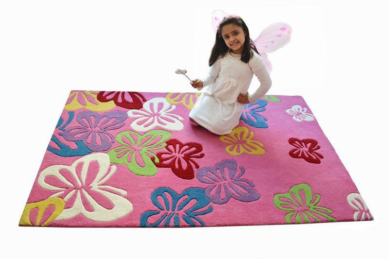 Littlelooms Pink Fluttering Butterfly Kids Rug