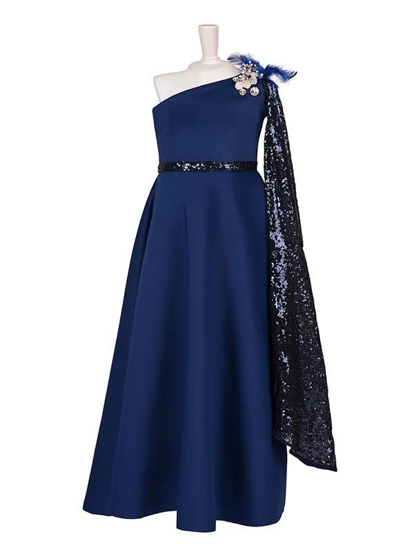 Sequin Detailing Navy Blue Gown