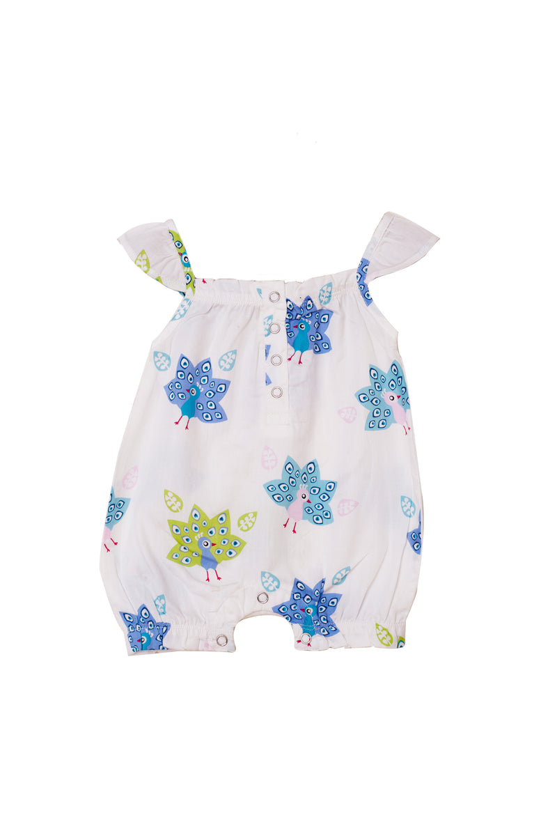 Popsicle & Nigh Nigh Girls White and Blue Peacock Printed Rompers
