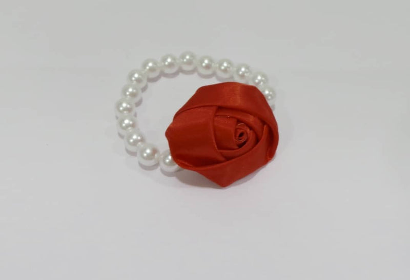 Aayera's Nest Pearl Wristband with Red Satin Rose