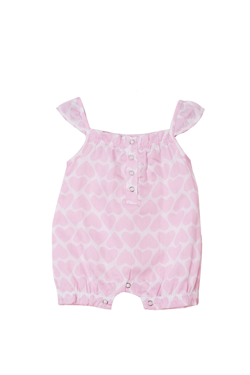 Popsicle & Nigh Nigh Girls Pink Heart Printed Rompers
