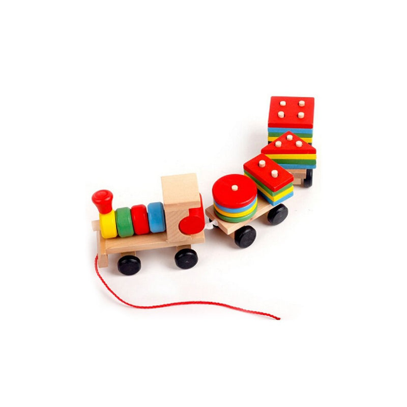 Munchkinz Pull Along Wooden Train with Shape Stackers