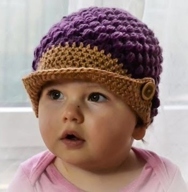Love Crochet Art Mauve and Brown Knitted Beanie Cap