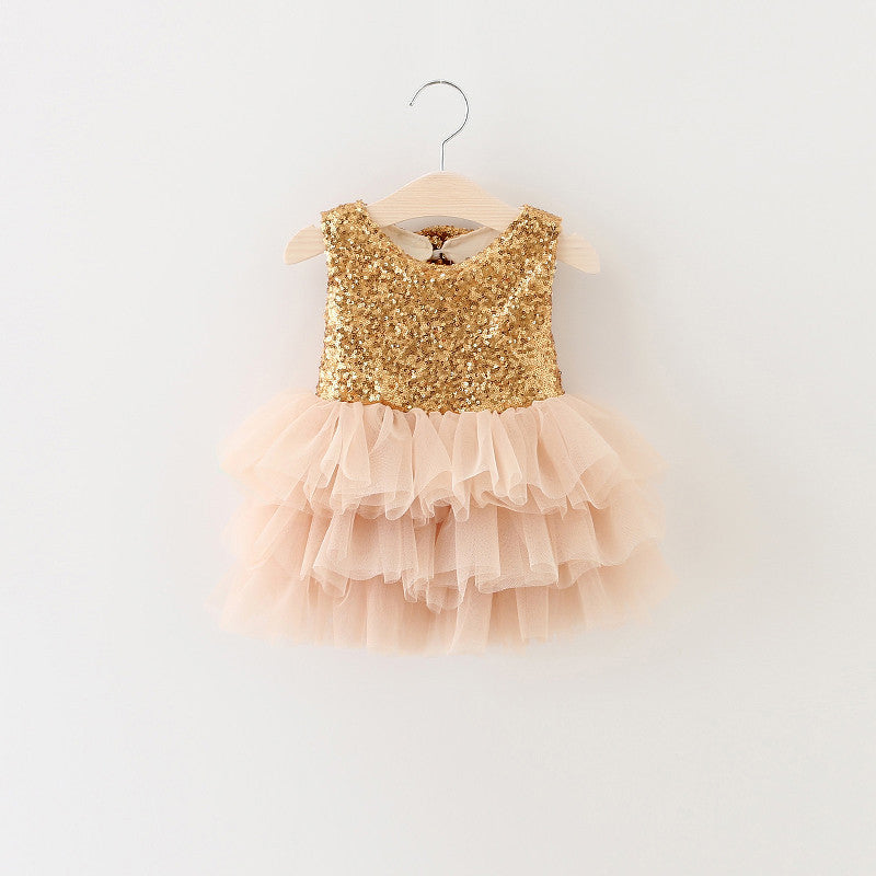 Meemu Girls' Gold and Beige The Flashy Flares Party Dress