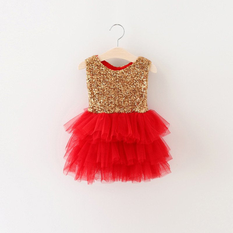 Meemu Girls' Gold and Red The Flashy Flares Party Dress