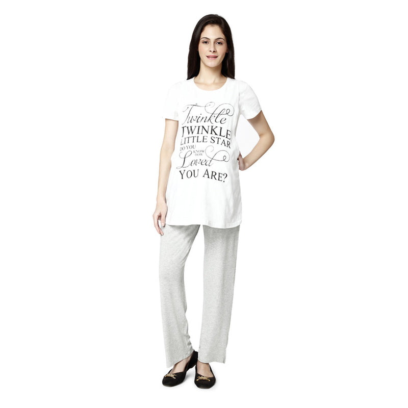 Nine Maternity White Pajama Sleepwear Set