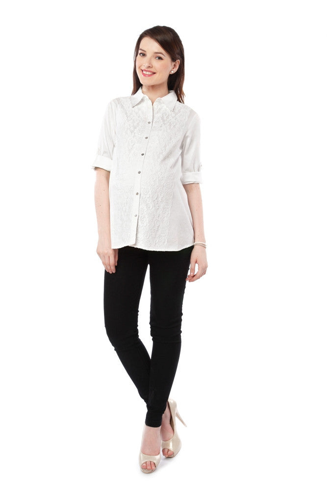 Nine Maternity White Front Lace Shirt