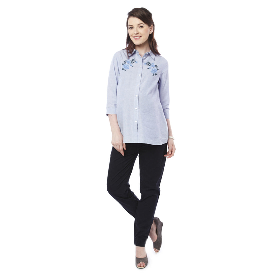 2ea6462f87bbd Nine Maternity Blue Embroidered Shirt – Munchkinz